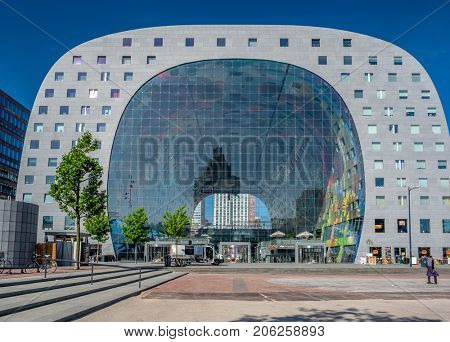 ROTTERDAM - MAY 27, 2017: The Markthal, residential and office building with market hall underneath, located in Rotterdam. South Holland, Netherlands.