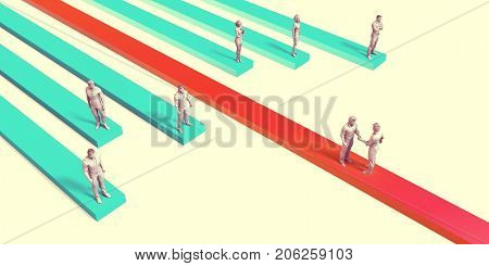 Business Integration of System or Company as Concept 3D Illustration Render