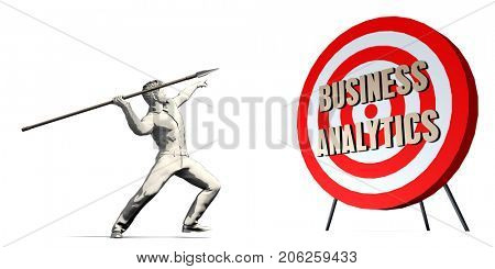 Business Analytics Goal with Businessman Targeting Concept 3D Illustration Render