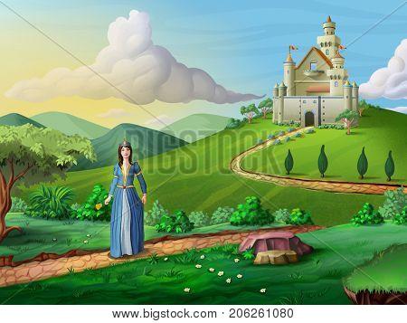 Princess walking on a path crossing a fantasy landscape. Digital illustration.