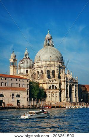 Venice Church Santa Maria della Salute and canal in Italy.