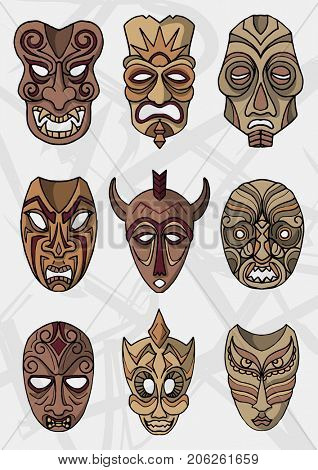 Wood ethnic or ceremonial theater masks  icons