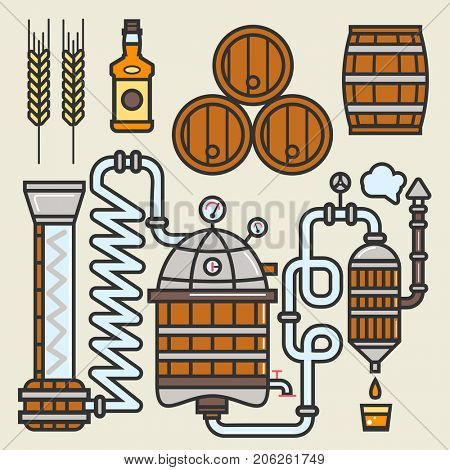 Whiskey production line or whisky making elements  icons