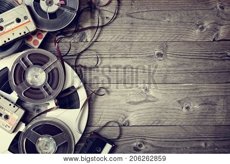 Retro audio reels and cassette tape with copy space