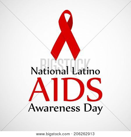 illustration of ribbon with National Latino AIDS Awareness Day text on the occasion of National Latino AIDS Awareness Day