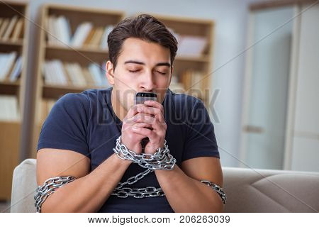 Man suffering from phone dependence addiction