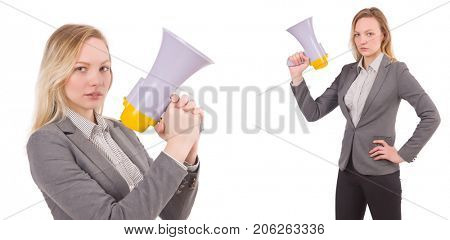 Businesswoman with bullhorn isolated on white