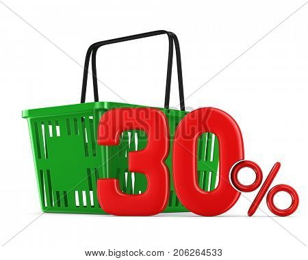 Green empty shopping basket and thirty percent on white background. Isolated 3d illustration