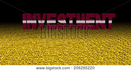 Investment text with Latvian flag on coins 3d illustration
