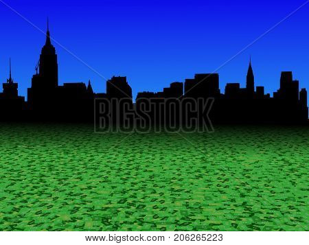 Midtown Manhattan skyline with abstract dollar currency foreground 3d illustration