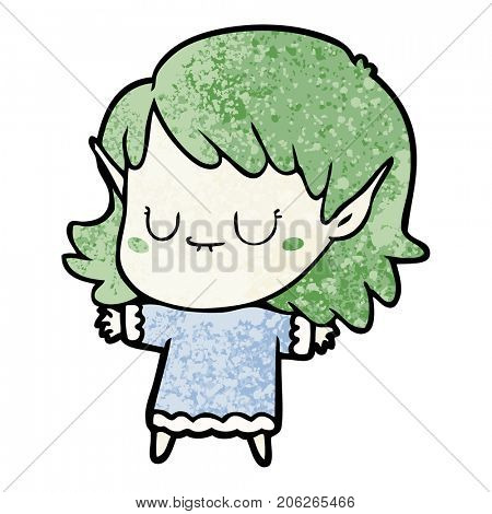 happy cartoon elf girl
