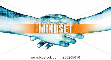 Mindset Concept with Businessmen Handshake on White Background