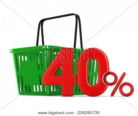 Green empty shopping basket and fourty percent on white background. Isolated 3d illustration