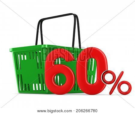 Green empty shopping basket and sixty percent on white background. Isolated 3d illustration