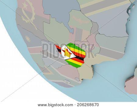 Zimbabwe With Flag Illustration