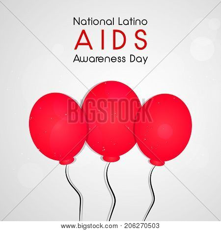 illustration of balloons with National Latino AIDS Awareness Day text on the occasion of National Latino AIDS Awareness Day