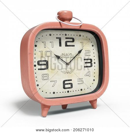 Retro alarm clock isolated on the white background 3D rendering