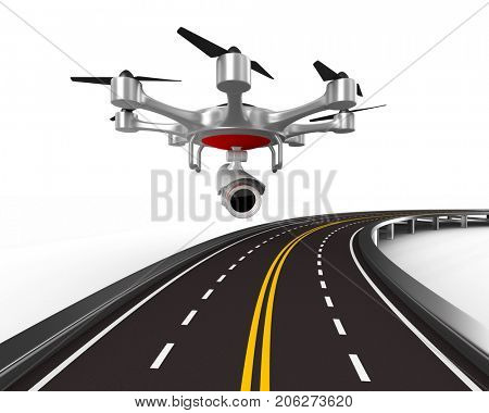 aerial of road on white background. Isolated 3D illustration