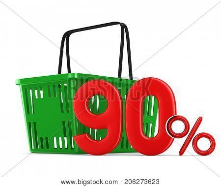 Green empty shopping basket and ninety percent on white background. Isolated 3d illustration
