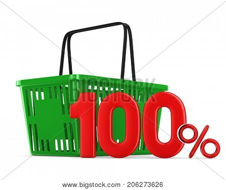Green empty shopping basket and one hundred percent on white background. Isolated 3d illustration