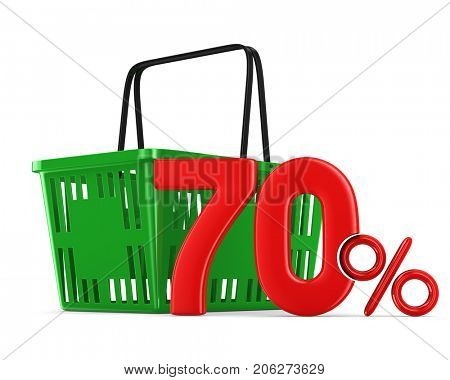 Green empty shopping basket and seventy percent on white background. Isolated 3d illustration