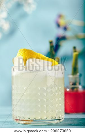 Summer Vodka Sour - Cocktail with Vodka, Sugar Syrup, Lemon Juice and Egg White