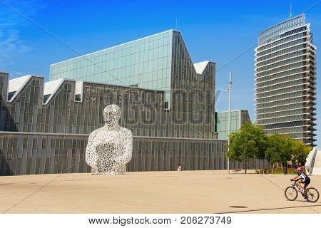 ZARAGOZA, SPAIN - AUGUST 19, 2017: A view of the main facade of the Palacio de Congresos de Zaragoza, in Zaragoza, Spain, built for the international exposition Expo 2008