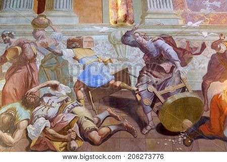LEPOGLAVA, CROATIA - OCTOBER 08: Christ Driving the Traders from the Temple, fresco in the church of Immaculate Conception in Lepoglava, Croatia on October 08, 2016.
