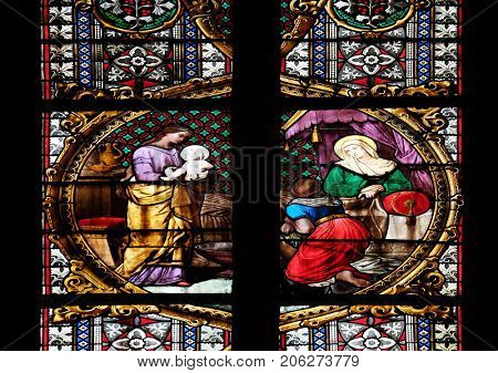 ZAGREB, CROATIA - APRIL 04: Birth of the Virgin Mary, stained glass in Zagreb cathedral dedicated to the Assumption of Mary and to kings Saint Stephen and Saint Ladislaus in Zagreb on April 04, 2015