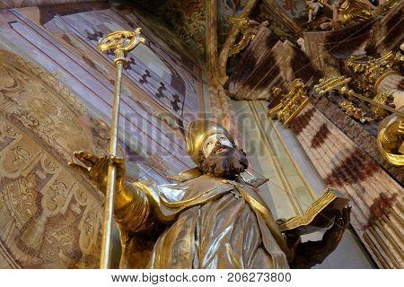 LEPOGLAVA, CROATIA - OCTOBER 08: Saint Ambrose statue in the church of Immaculate Conception in Lepoglava, Croatia on October 08, 2016.