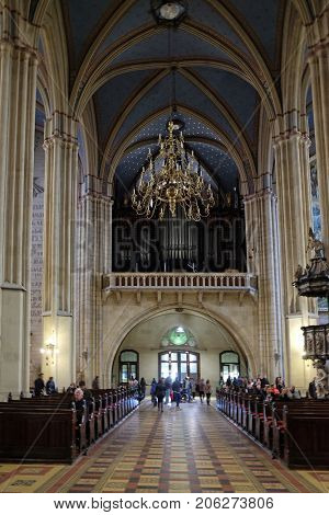 ZAGREB, CROATIA - APRIL 04: Zagreb cathedral dedicated to the Assumption of Mary and to kings Saint Stephen and Saint Ladislaus in Zagreb on April 04, 2015