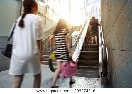 Shopping center, escalator people moving