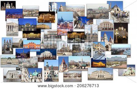 Collage with Vienna (Austria) views - Glorietta at Schonbrunn Park, Belvedere castle, St. Francis of Assisi Church