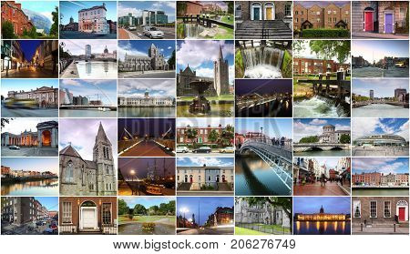 Collage with many Dublin (Ireland) views - Customs House, St. Patrick Cathedral, Ha penny Bridge, Samuel Beckett Bridge