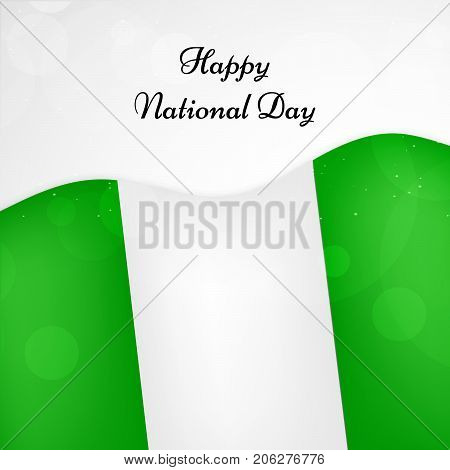 illustration of Nigeria flag background with Happy National Day text on the occasion of Nigeria National Day
