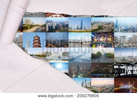 Collage with torn paper and Guangzhou (China) views - Pagoda, Guangzhou Canton TV Tower, International Financial Centre, Guangzhou Rural Commercial Bank