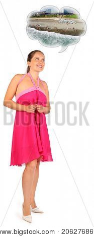 Woman wearing pink smiles and dreams about vacation isolated on white