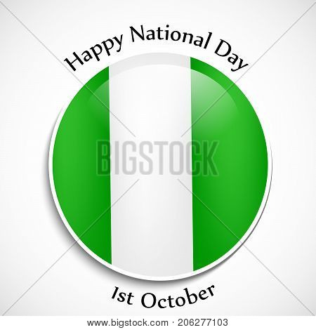 illustration of button in Nigeria flag background with Happy National Day1st October text on the occasion of Nigeria National Day