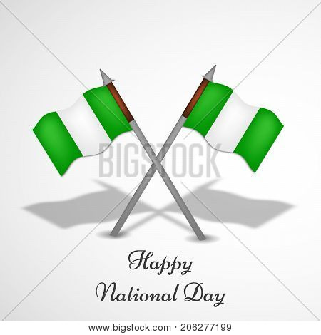 illustration of Nigeria flags with Happy National Day text on the occasion of Nigeria National Day