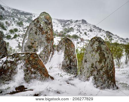 late snow in sprig in Pricopane, Macin mountains, Dobrogea, Romania