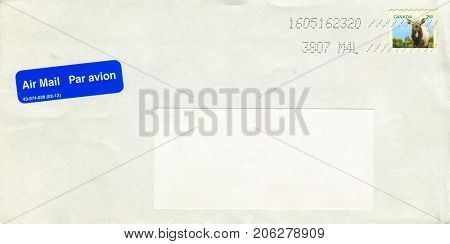 GOMEL, BELARUS - AUGUST 12, 2017: Old envelope which was dispatched from Canada to Gomel, Belarus, August 12, 2017.