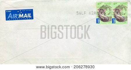 GOMEL, BELARUS - AUGUST 12, 2017: Old envelope which was dispatched from Australia to Gomel, Belarus, August 12, 2017.