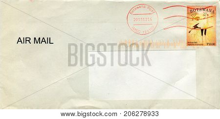 GOMEL, BELARUS - AUGUST 12, 2017: Old envelope which was dispatched from Botswana to Gomel, Belarus, August 12, 2017.