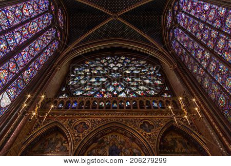 Paris, France, April 1, 2017: The Sainte Chapelle Holy Chapel in Paris, France