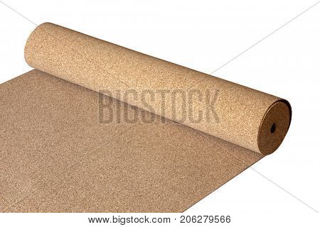 Isolated natural Cork roll on the floor, a substrate for a laminate