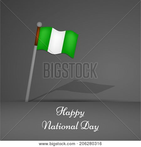 illustration of Nigeria flag with Happy National Day text on the occasion of Nigeria National Day