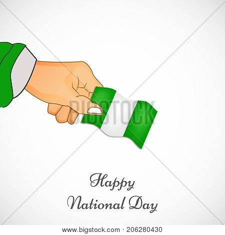 illustration of hand holding Nigeria flag with Happy National Day text on the occasion of Nigeria National Day