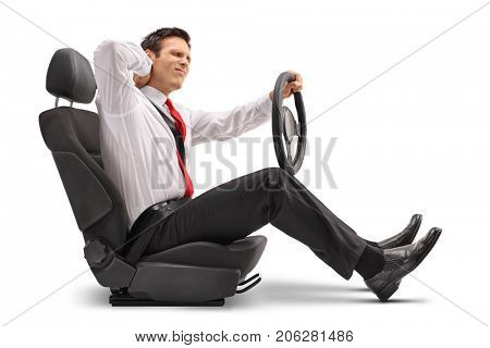 Elegant man seated in a car seat experiencing neck pain isolated on white background