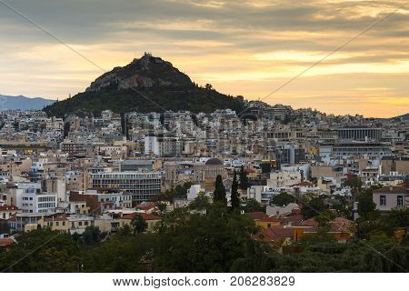 ATHENS, GREECE - SEPTEMBER 25, 2017: Lycabettus hill and view of the city of Athens, Greece on September 25, 2017.