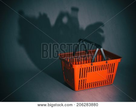 Empty shopping basket with shadow like a full of products and grocery. Poverty or crisis concept, 3d illustration.
